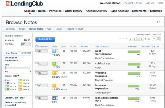 Lending Club Browse Screen