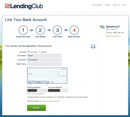 Lending Club Bank Info Screen