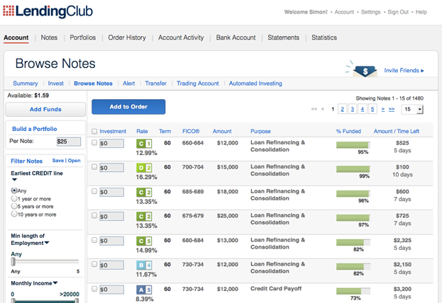 Lending-Club-Browse-Notes-Screen