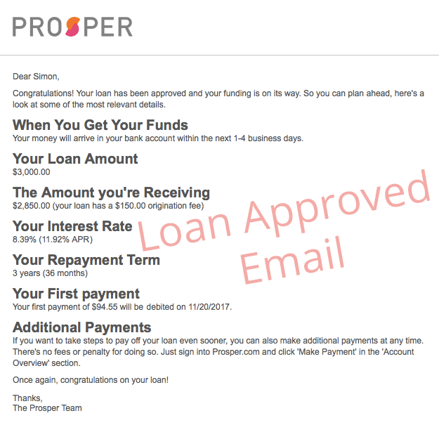 Loan Approved Email from Prosper