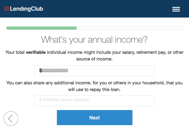 Lending Club Annual Income Page
