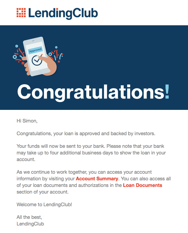 Lending Club Loan Approved Email