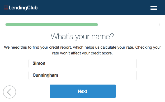 Lending Club Name Page
